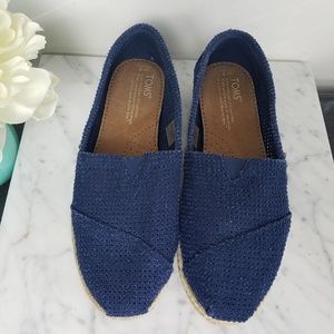 Tom's navy blue slip ons with espadrille detail